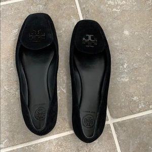 Black suede Tory Burch loafers